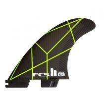 Ailerons de surf FCS 2 KA PC Yellow/grey Medium Tri Retail Fins