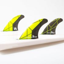 Ailerons de surf FCS 2 KA PC Yellow/grey Medium Tri Retail Fins
