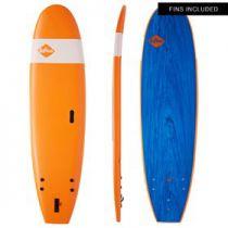 Planche de surf softech handshaped 7\'6 orange/blue marble