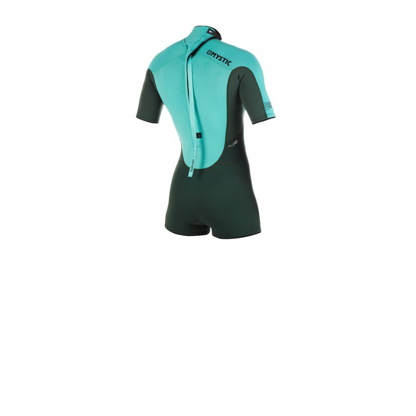 SHORTY MYSTIC 3/2 MM BZIP FLATLOCK FEMME TEAL S19