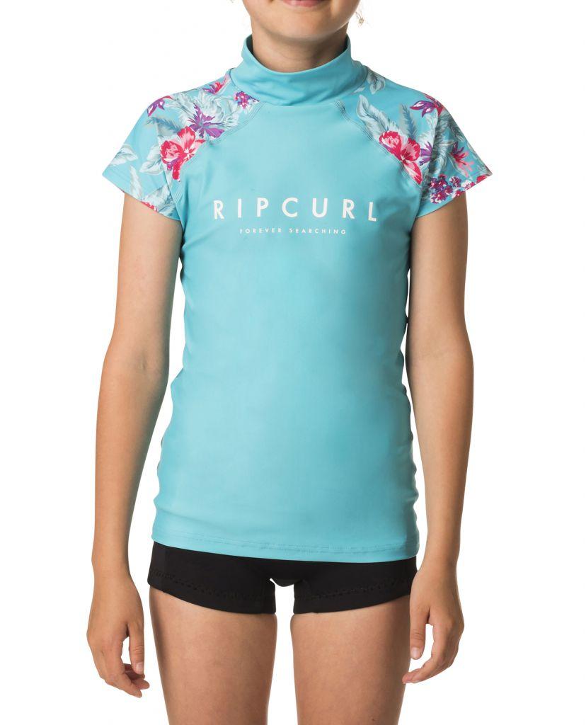 Tee shirt Lycra Girl Rip Curl GIRL PARADISE anti UV S18 Blue