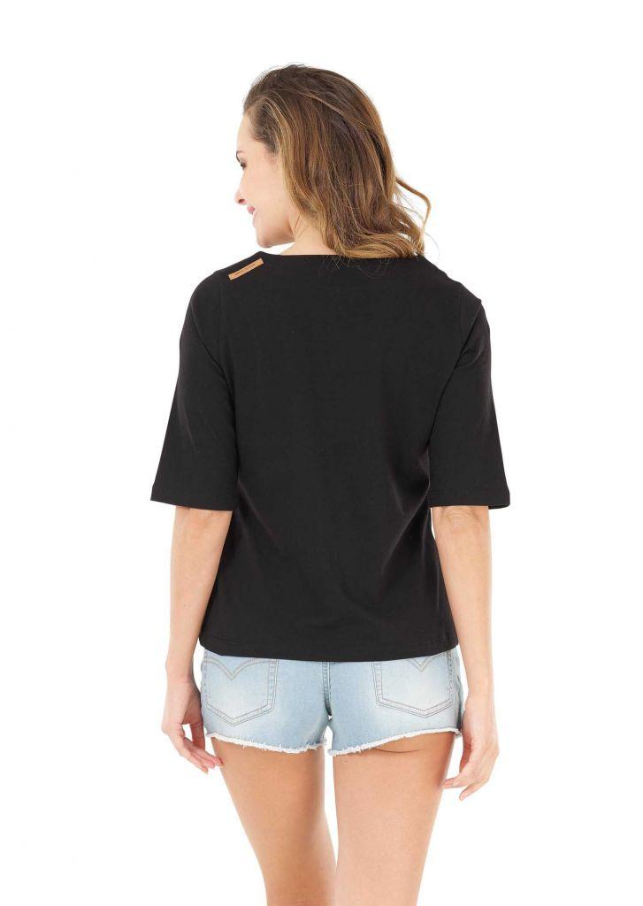 Tee shirt TOP Picture ZINNIA Black